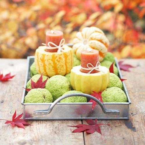 trang trí nến và hoa quả